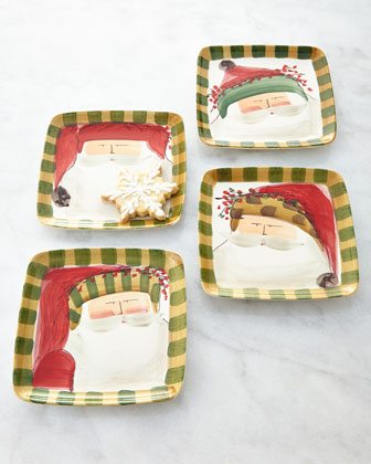 Four Old St. Nick Dessert Plates