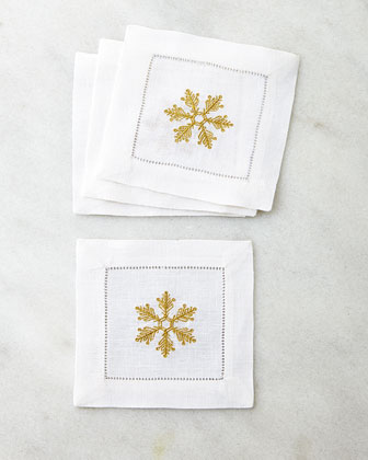 Four Snowflake Cocktail Napkins