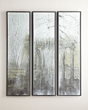 3-Piece Greco-Roman Mirrored Wall Panel Set