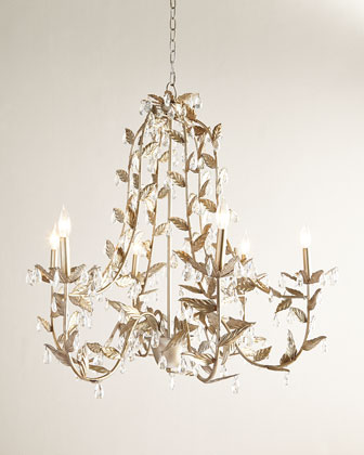 Cascading Leaves Six-Light Champagne Chandelier