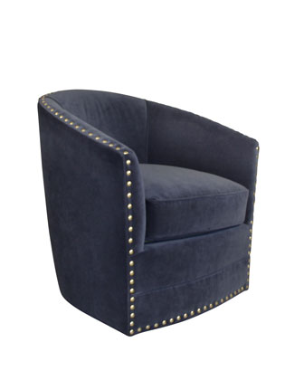 Bryn St. Clair Navy Velvet Swivel Chair