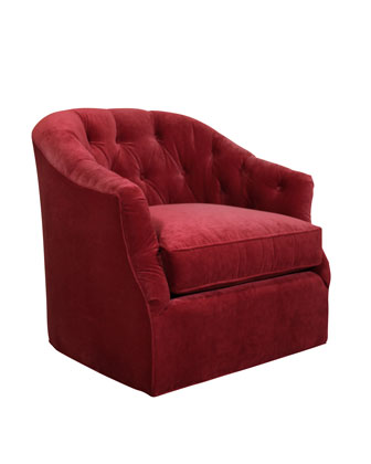 Rae St. Clair Red Velvet Swivel Chair