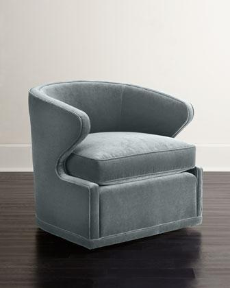 Dyna St. Clair Sky Blue Velvet Swivel Chair
