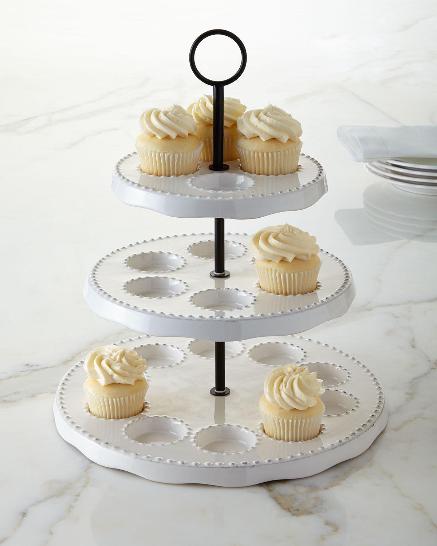 Bianca Bead Three-Tier Cupcake Stand, White - Neiman Marcus