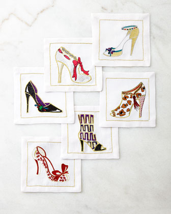 Six OMG Shoes Cocktail Napkins