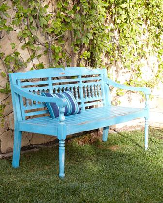 Bennington Blue Teak Outdoor Bench