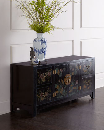 Antique Floral-Motif Cabinet