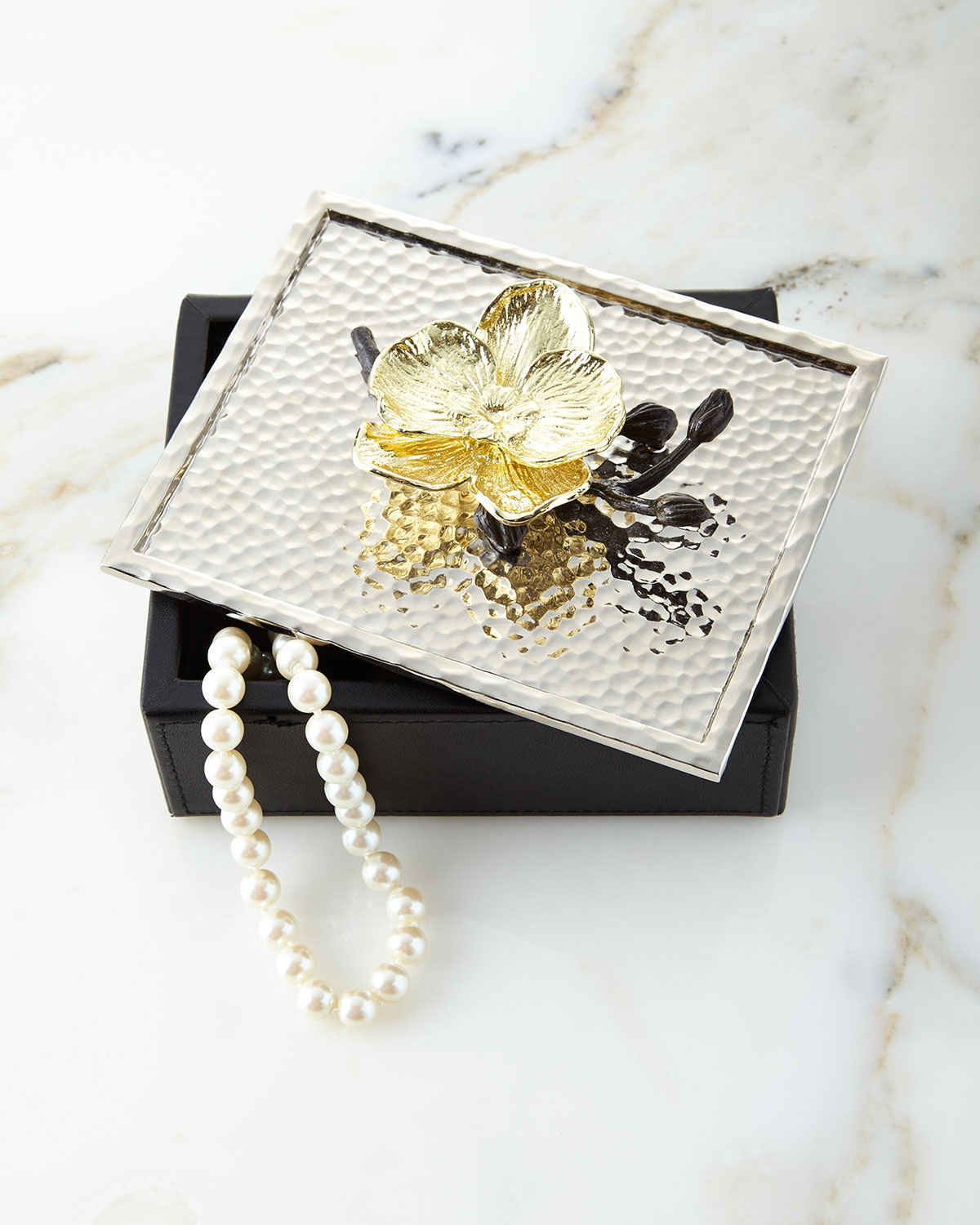 Gold Orchid Jewelry Box, Silver - Michael Aram