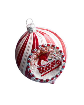Pirouette Reflector Santa & Sleigh Christmas Ball Ornament