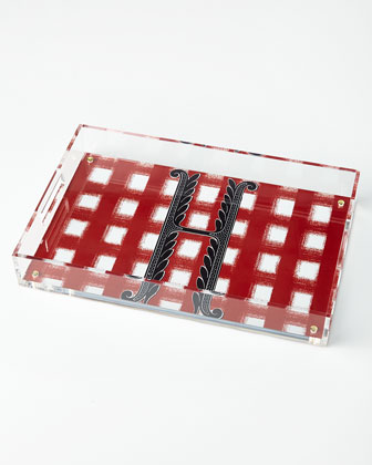 Gingham Red Lucite Tray