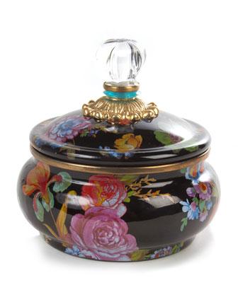 Flower Market Black Squashed Pot