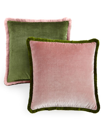 Velda Rose/Green Contrast Velvet Pillow