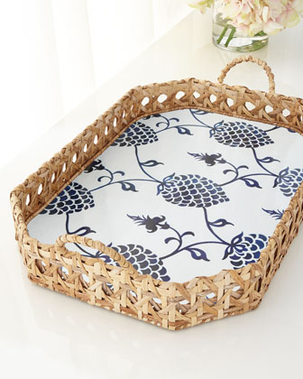 Caned Octagonal Pinecone Tray