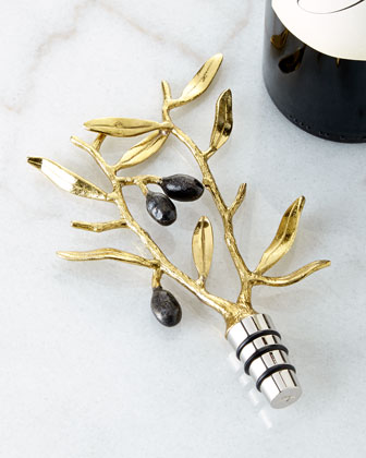 Olive Branch Gold Wine Stopper