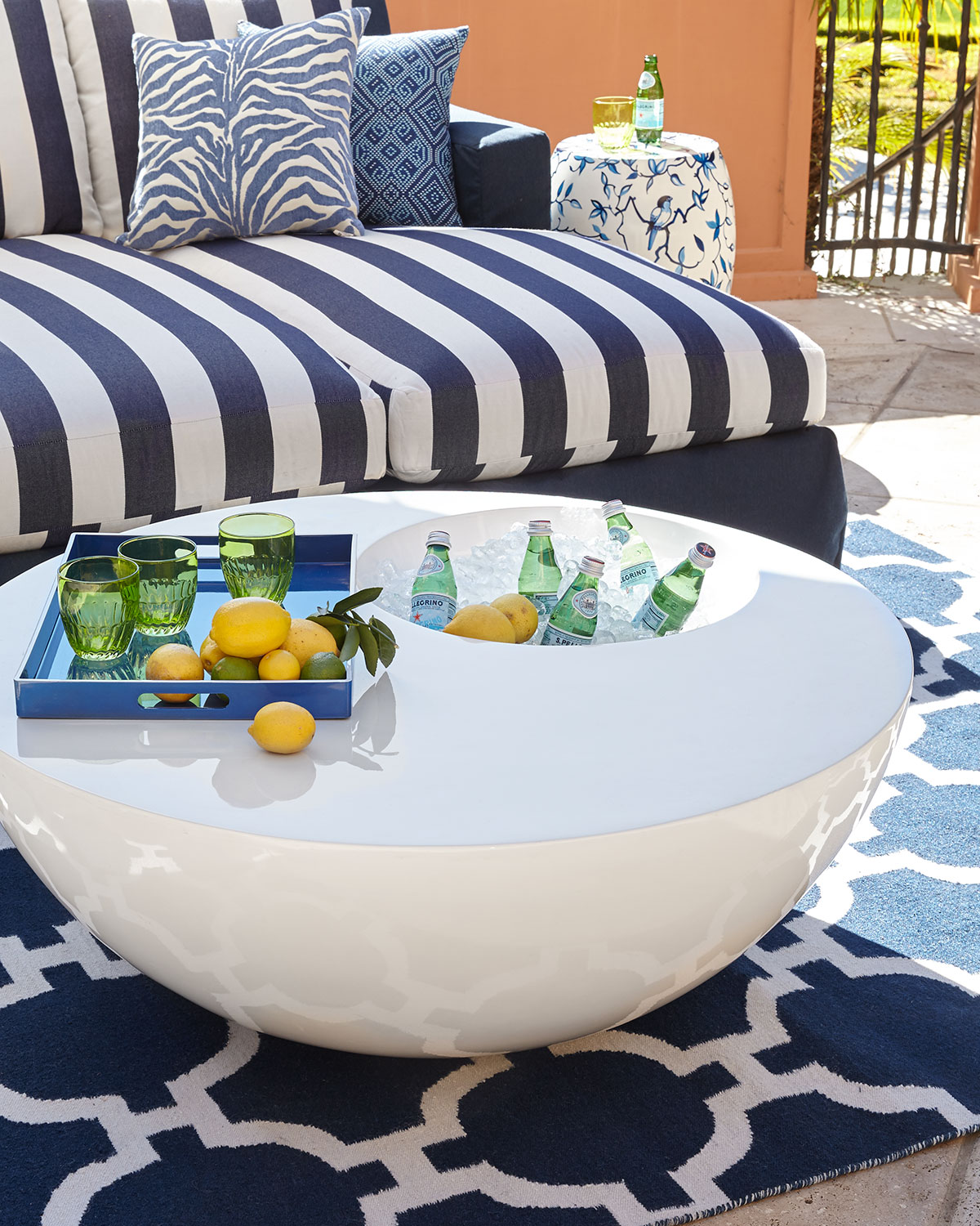 White Outdoor Beverage Table - Neiman Marcus