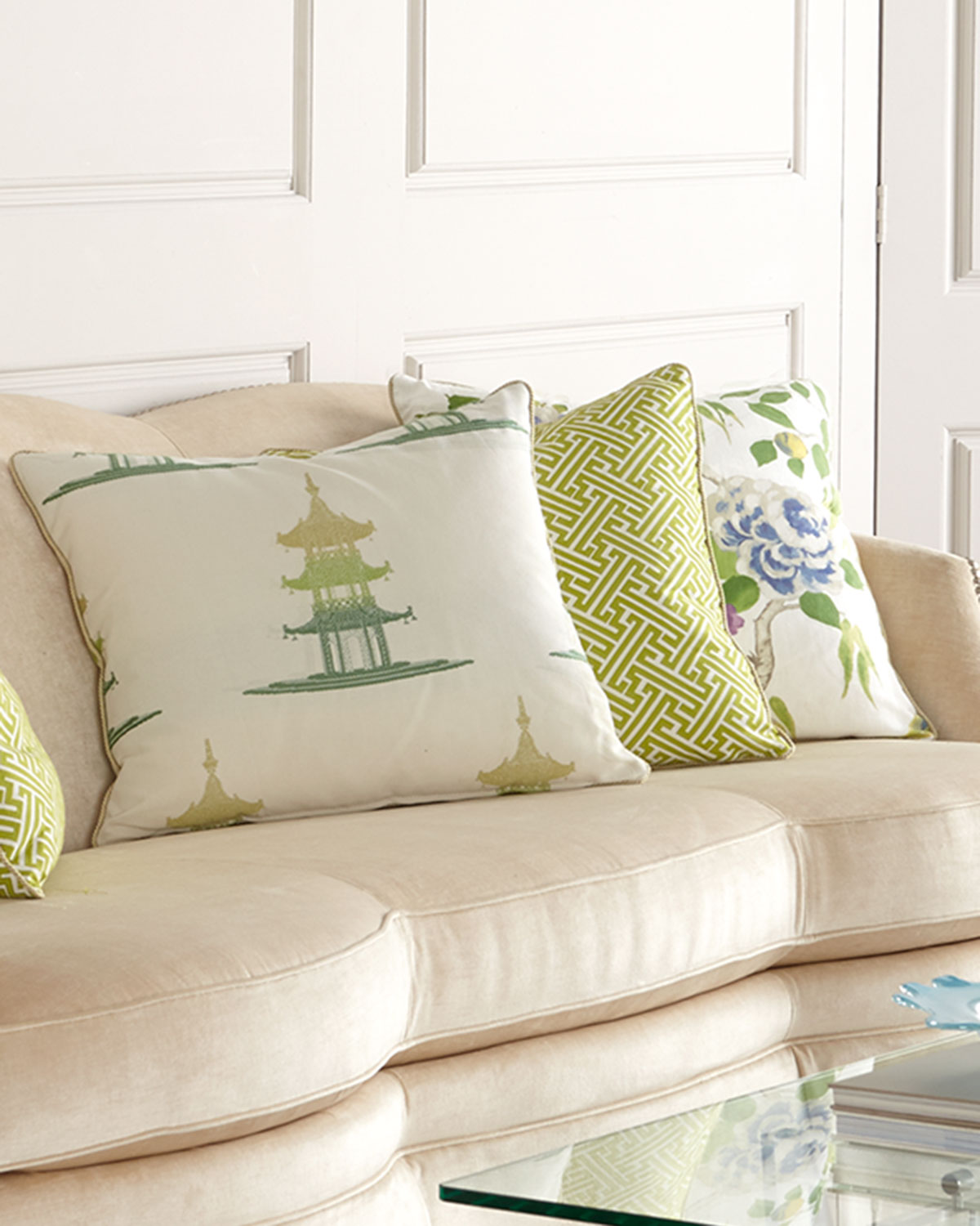 Five-Piece Spring Pillow Set, Green Floral - Massoud