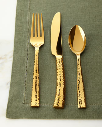 20-Piece Paris Golden Hammered Flatware Service