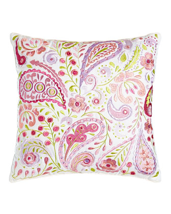 Embroidered Paisley/Floral Pillow, 14