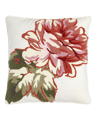 Sage Pillow with Tufted Chenille Blossom, 18