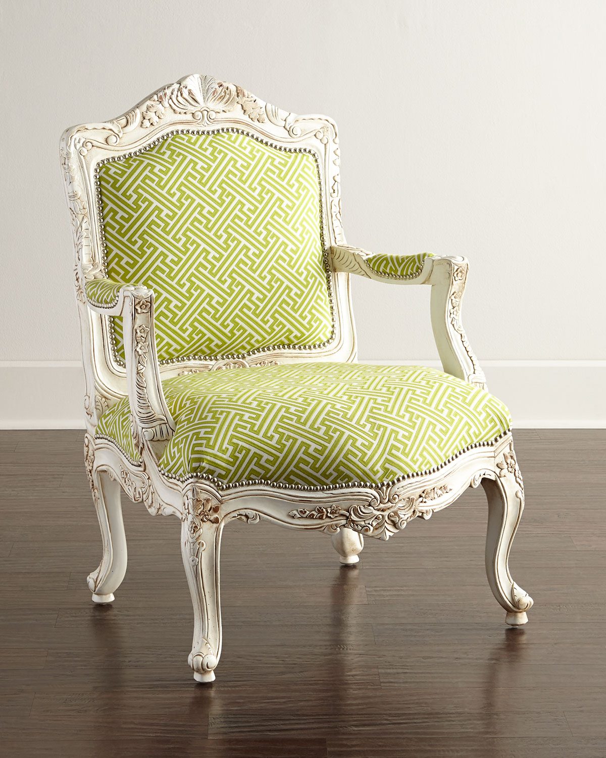 Victoria Chair, Green Print - Massoud