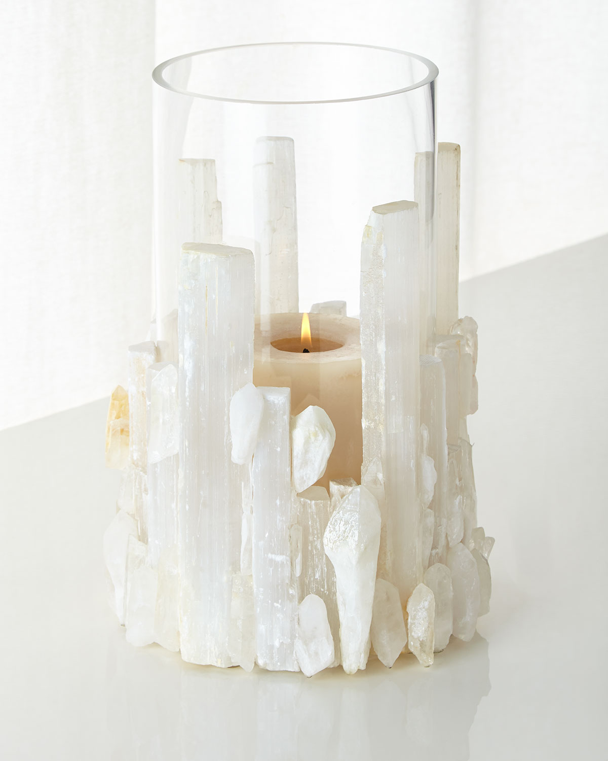 Natural Selenite Candleholder/Vase, White - John-Richard Collection