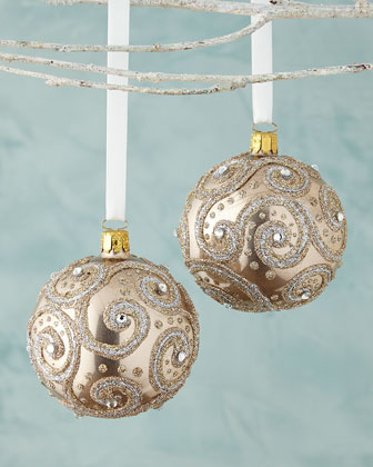 Glittered Ball Christmas Ornaments