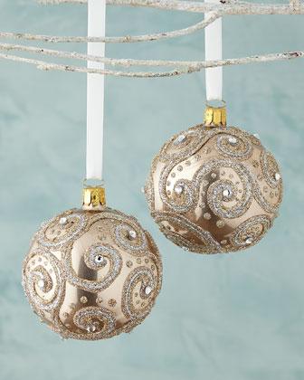 Glittered Ball Christmas Ornaments