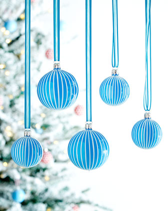 Opal-Blue Stripe Ball Christmas Ornaments