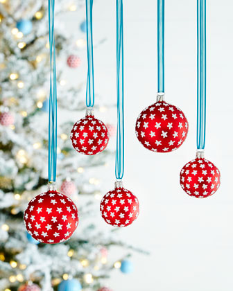 Red Silver-Star Ball Christmas Ornaments