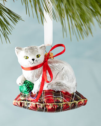 Cat on Pillow Christmas Ornament
