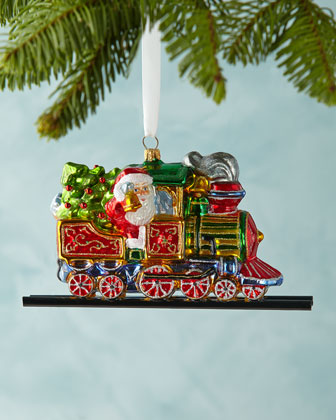 Santa on Train Christmas Ornament