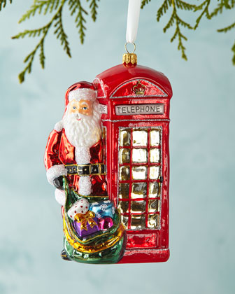 Phone Box Santa Christmas Ornament