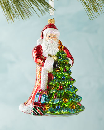 Santa with Christmas Tree Ornament