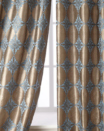 Coren Embroidered Taffeta Curtains