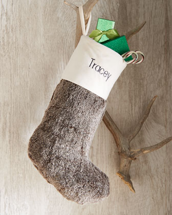 Gray Faux-Fur Christmas Stocking
