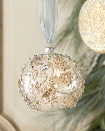 Silvery Accent Christmas Orrnaments