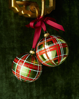 Glossy Green Check Ball Christmas Ornament, Set of 3
