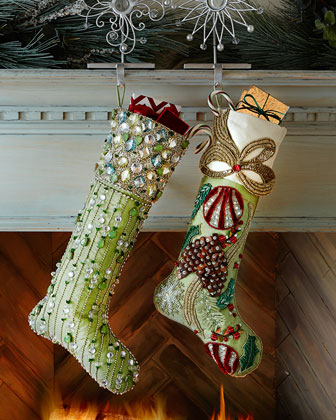 Frosted Pine & Aurora Christmas Stockings