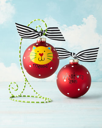 Meow Cat Red Christmas Ornament