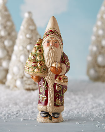 Santa in Burgandy Coat Figure