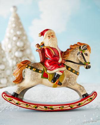 Santa on Rocking Horse Figure