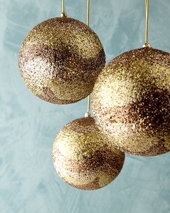 Gold Modern Swag Glitter Ball Christmas Ornaments, Set of 3
