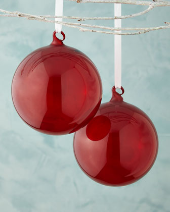 Red Transparent Glass Ball Christmas Ornament, Set of 2
