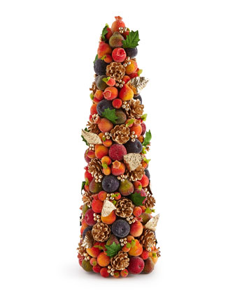 Beaded Fruit Conical Trees & Wreath