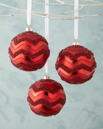 Flamestitch Ball Christmas Ornament, Set of 3