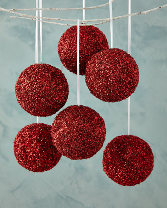 Red Sequined Beaded Ball Christmas Ornament, Set of 3