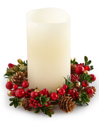 Red & Green Holly Conical Trees & Candle Wreath