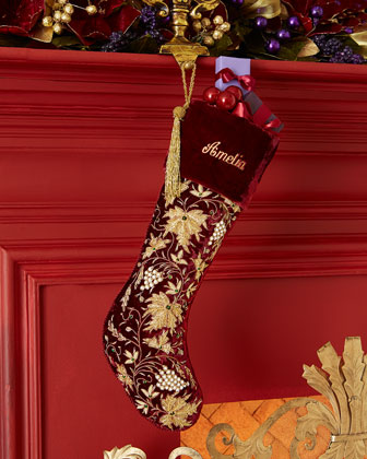 Burgundy Velvet Christmas Stocking