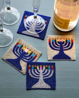 Menorah Coasters, 4-Piece Set
