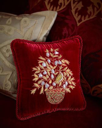 Partridge-in-a-Pear-Tree Velvet Pillow